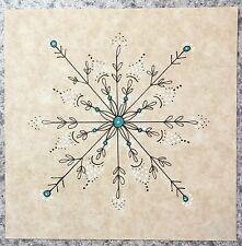 SEArts Snowflake 1 Black White Turquoise ORIGINAL India Ink Minimilist Tan Biege