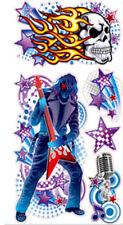 ROCKER HARD ROCK wall stickers 5 decals guitar star musical note glitter skull
