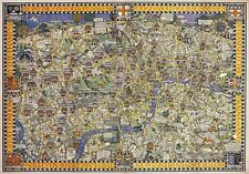 TX46 Vintage 1914 London Transport Tram Bus Map Of London Travel Poster A1/A2/A3