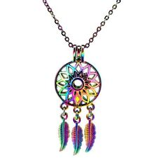 C679 Rainbow Color Dream Catcher Pearl Cage Necklace - Rainbow Multi Colors