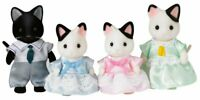 Calico Critters Tuxedo Cat Family Set 4 Pcs Jointed Figures Removable Clothing