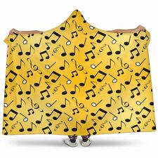 Yellow Music Notes Hooded Cosy Sherpa And Microfiber Blanket With Hood