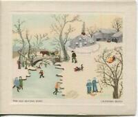 VINTAGE CHRISTMAS OLD ICE SKATING POND PRIMITIVE GRANDMA MOSES GREETING ART CARD