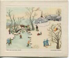 New listing VINTAGE CHRISTMAS OLD ICE SKATING POND PRIMITIVE GRANDMA MOSES GREETING ART CARD