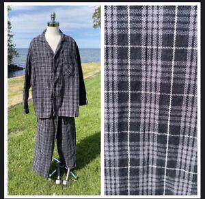 Mens Pajamas Pjs Size XL Cotton Blend Black Grey White Large Plaid Stafford