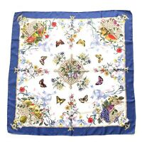 Vintage Gucci V. Accornero Square Silk Scarf Floral Fruits Butterflies Blue Auth