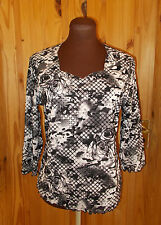 TIGI black nude peach floral lace effect stretch 3/4sleeve tunic top 10-12 38-40