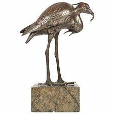 Rare Vintage Hidenao signed,Silvered egret Bronze Okimono.Meiji ca.1875 Netsuke