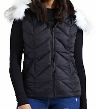 Womens Quilted Zigzag Padded Fur Hood Premium Gilet Jacket Top Body Warmer Black 14