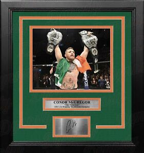 """Conor McGregor 2-Division Champion 8"""" x 10"""" Framed Photo with Engraved Autograph"""