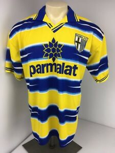 Lega Calcio Serie A Collared Stripe Futbol Soccer PARM AC Parmalat Jersey Shirt