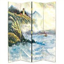 Wayborn Hand Painted 4 Panel Lighthouse Room Divider