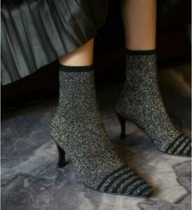 Womens Chic Pointed Toe Kitten Heel Elastic Knitted Sock Ankle Boots Shoes KOGO