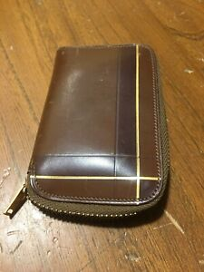 Vtg Classic Car Calf Leather Brown Key Chain Case Ring Holder Wallet Collector