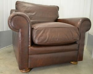 RRP £1099 JOHN LEWIS CHESTNUT BROWN LEATHER ARMCHAIR WITH FEATHERS CUSHIONS