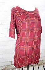 LuLaRoe IRMA Hi-Lo Tunic Tee Top Burgundy Red Plaid Print Size XS (2-6)
