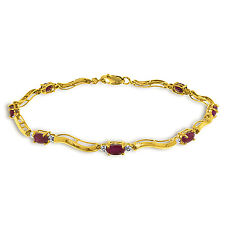 2.01 Carat 14K Solid Gold Fine Bracelet with Authentic Natural Ruby Diamonds