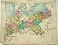Original Map of Prussia After the War of 1866 by William Hughes. Antique