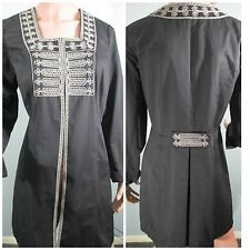 NWT!  CAbi Charcoal Grey Beaded Turkish Embroidered Coat Jacket Sz 12