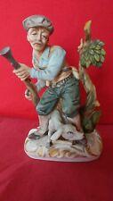 "Vintage 8""Ceramic Old Hunter with Shotgun and Hunting Dog Statue"