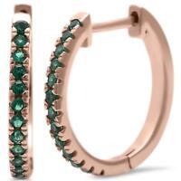 Emerald Hoop Earrings in 14k Rose Gold over Sterling Silver -  MAY BIRTHSTONE