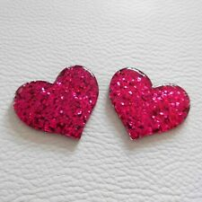 5 x 23MM PINK BARBIE HEART FLAT BACK RESIN HEADBANDS BOWS CARD MAKING PLAQUES