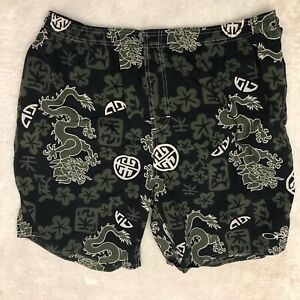 OP Men XL Chinese Dragons Swim Trunks Board Shorts Olive Black Lined Pockets