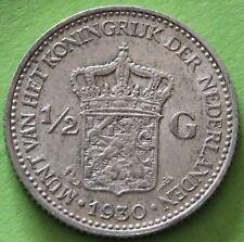 PAYS BAS 1/2 GULDEN 1930  ARGENT