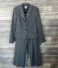Ann Taylor Loft Size 10 Wool Blend Gray Pant Suit Blazer Cuffed Trousers Womens