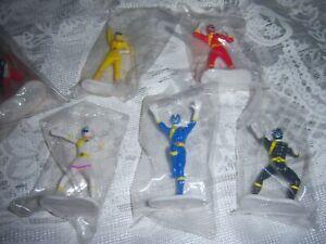 1 Set of 5 Saban Power Rangers Action Figures Cake Topper Decorations SEALED