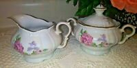 Vtg Fine Bohemian China made in Czechoslovakia Roses creamer & sugar bowl