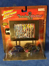 Johnny Lightning X-Men Yesterday and Today VW Beetle Set with Billboard