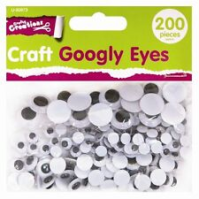 200 Googly Wiggly Wobbly Eyes Scrapbooking Crafts 3 Mixed Sizes 7mm to 15mm