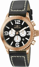 Invicta Specialty 1429 Men's Round Black Chronograph Date Analog Leather Watch