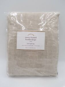 """Pottery Barn Emery Framed Border Cotton Lined Drape Oatmeal Gray 50x84"""" #104F"""