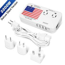 New (Pure Silent Version) Doace 2200W Voltage Converter and Adapter with 4-Port