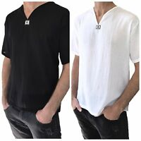 Men's Short Sleeve Shirt 100% Cotton Summer Hippie Shirt, Casual  Beach Yoga Top