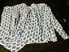 Victorian Classics Extra Small Cotton Pants Long Sleeve Shirt White Blue Paj