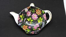 Black Pink Chintz Tea Bag Holder Formalities Baum Bros 3x4 Tea Pot Shape Ceramic