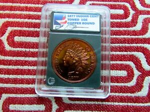 1877 INDIAN CENT   TONED PROOF-LIKE  SIGNATURE RARE 1 OUNCE COPPER ROUND