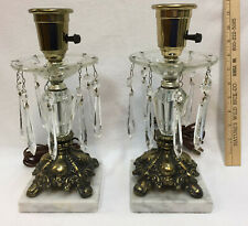 "Table Lamps Pair Lights Marble Base Brass Clear Crystals Glass 14""  Vintage"