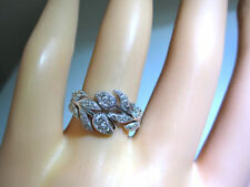 Stunning! 18K Vintage Diamond VVS Wedding Ring White Gold Wreath Floral Style