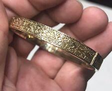 "10K YELLOW GOLD 7"" POLISHED HINGED BANGLE BRACELET  Antique  11.5 GRAMS Engraved"