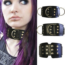Punk Goth Thick Wide Faux Leather Studded Harajuku Collar Choker D-Ring Necklace