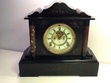 Antique Victorian Black Slate & Marble Open Escapement Mantel Clock