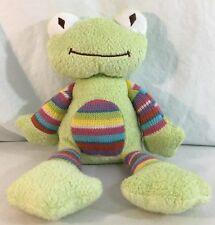 "Animal Adventure Frog Green Sweater Knit Striped Belly Plush 13"" Stuffed 2014"