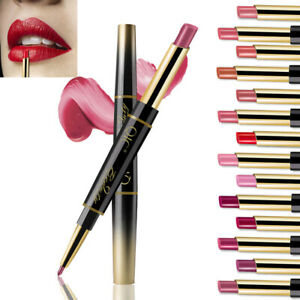 1Pcs 2 in 1 Women's Double-End Lasting Waterproof Lip Liner Matte Lipstick Pen
