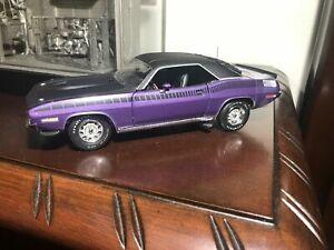 1/24 Franklin Mint Purple 1970 AAR CUDA Plymouth Limited Ed 28 of 150 S11E865
