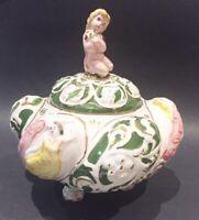 Porcelain Footed Bowl Lid Cherub ITALY candy dish bowl ornate paint vtg regency