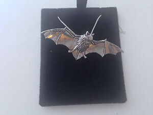 A34 Bat on a 925 sterling silver Necklace Handmade 18 inch chain